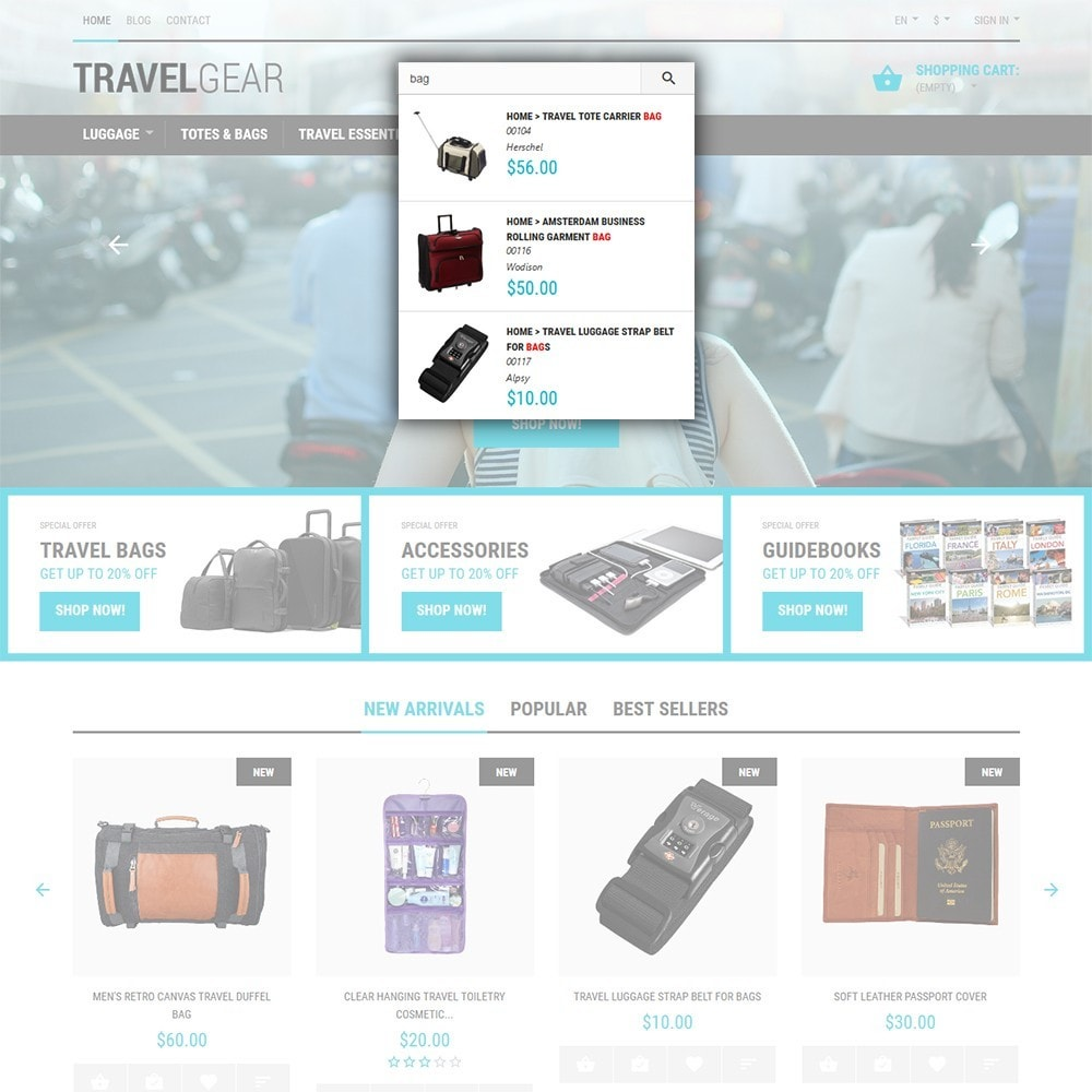 theme - Deportes, Actividades y Viajes - Travel Gear - para Sitio de Tienda de Viajes - 6