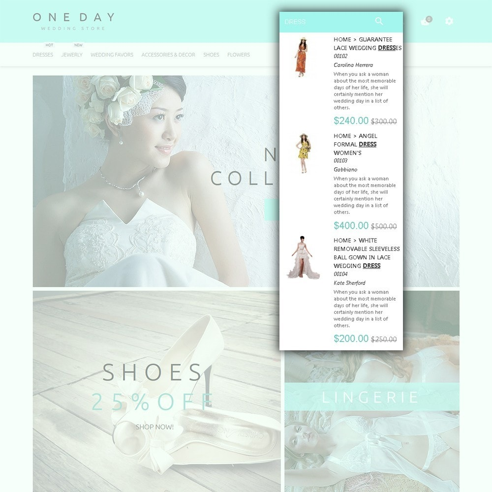 theme - Fashion & Shoes - One Day - Wedding Shop Template - 6