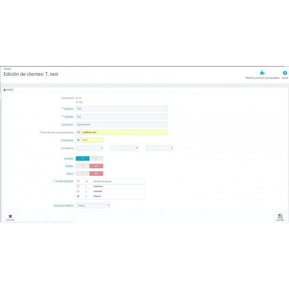 module - Gestión de clientes - Nombre de usuario para login - 2