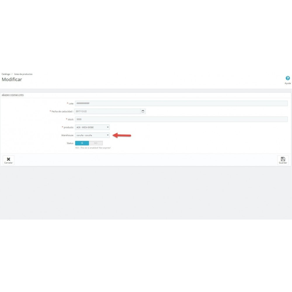 module - Gestión de Stock y de Proveedores - Trazabilidad y fecha de caducidad - 5