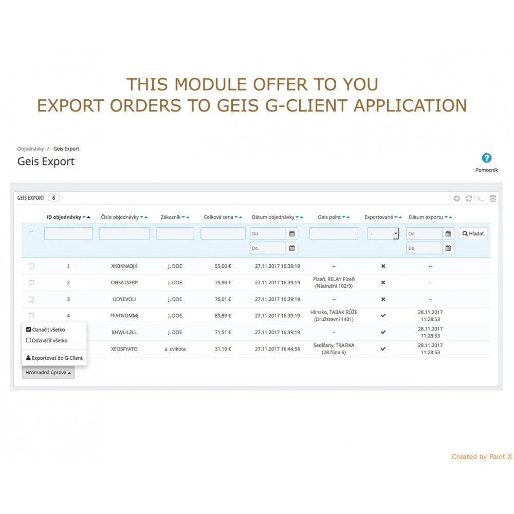 module - Punto de entrega y Recogida en tienda - Geis Orders Export and Geis Points Display to CZ and SK - 2