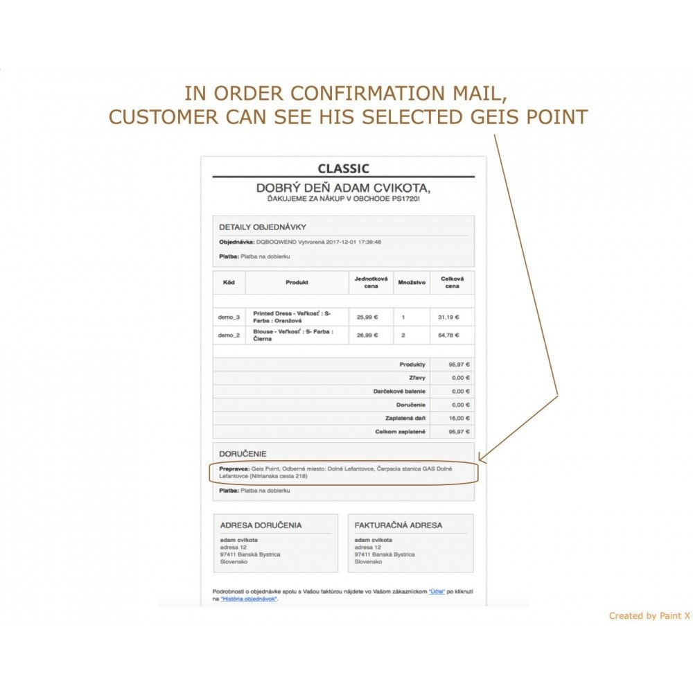 module - Punto de entrega y Recogida en tienda - Geis Orders Export and Geis Points Display to CZ and SK - 7