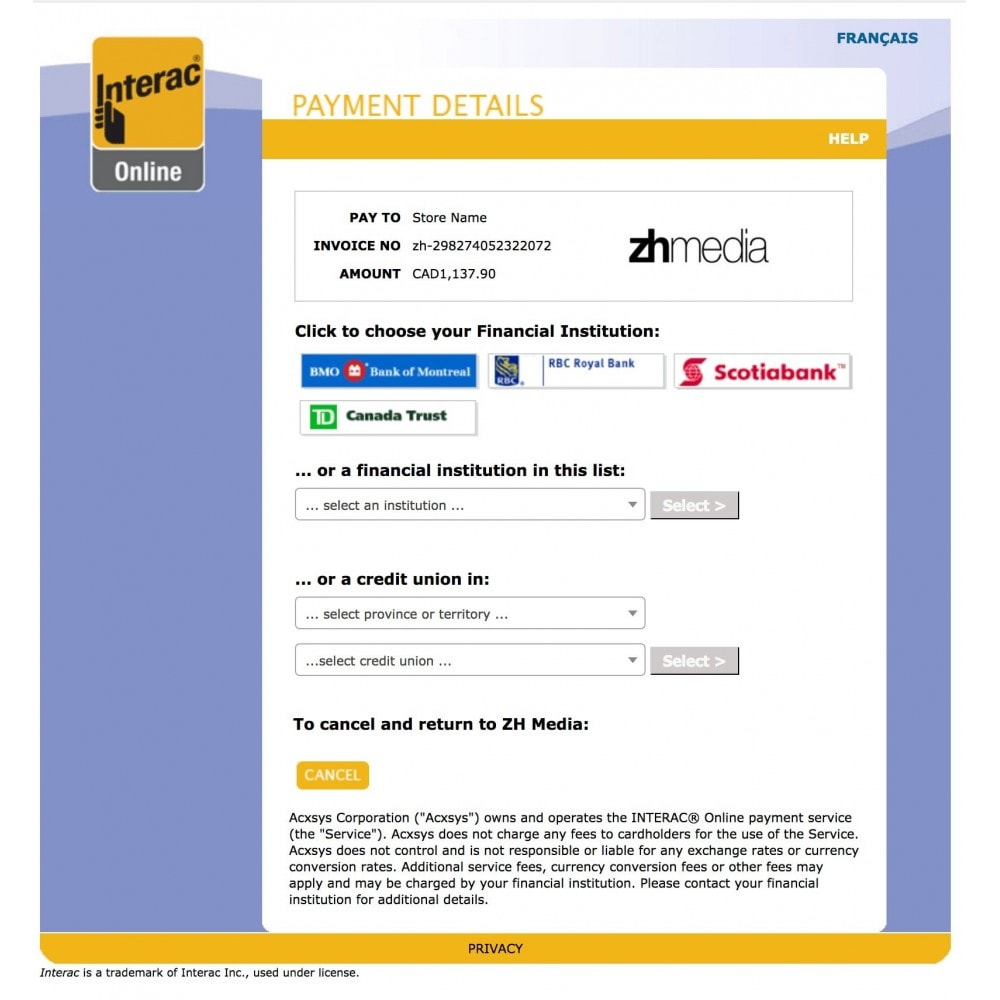 module - Creditcardbetaling of Walletbetaling - Moneris INTERAC® Online - 2