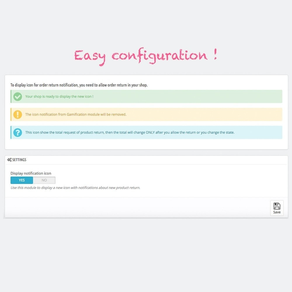 module - E-mails y Notificaciones - Visual notification for order return on shop - 3