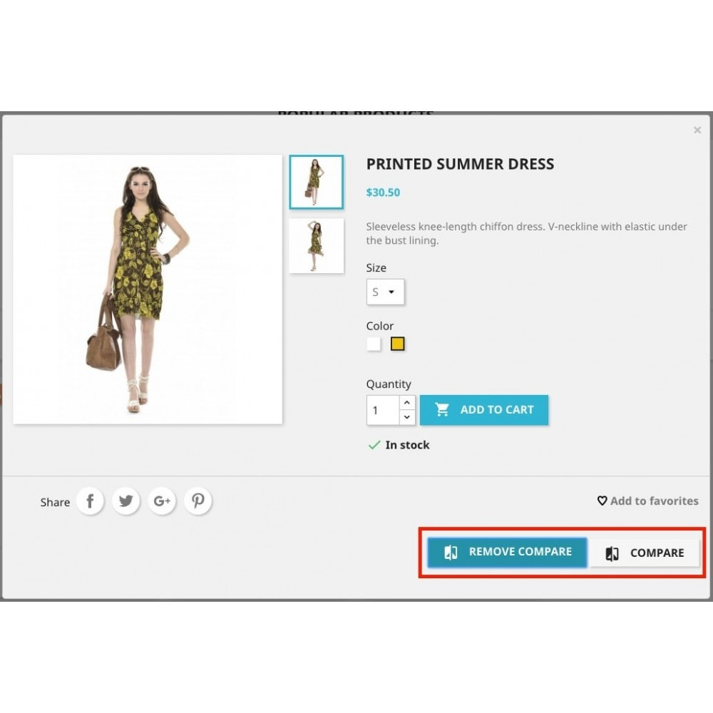 module - Comparateurs de prix - Add to compare products (from Basket/Cart UpSale) - 3