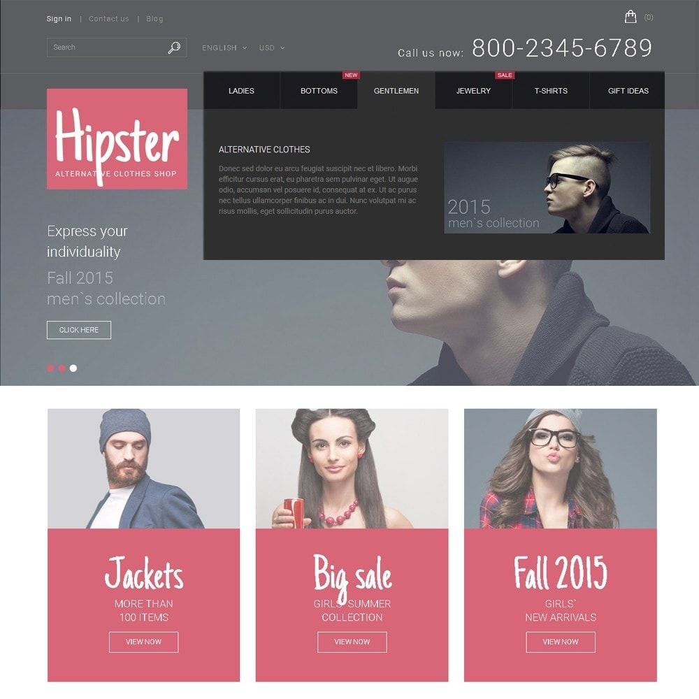 theme - Moda & Obuwie - Hipster - Apparel Template - 5