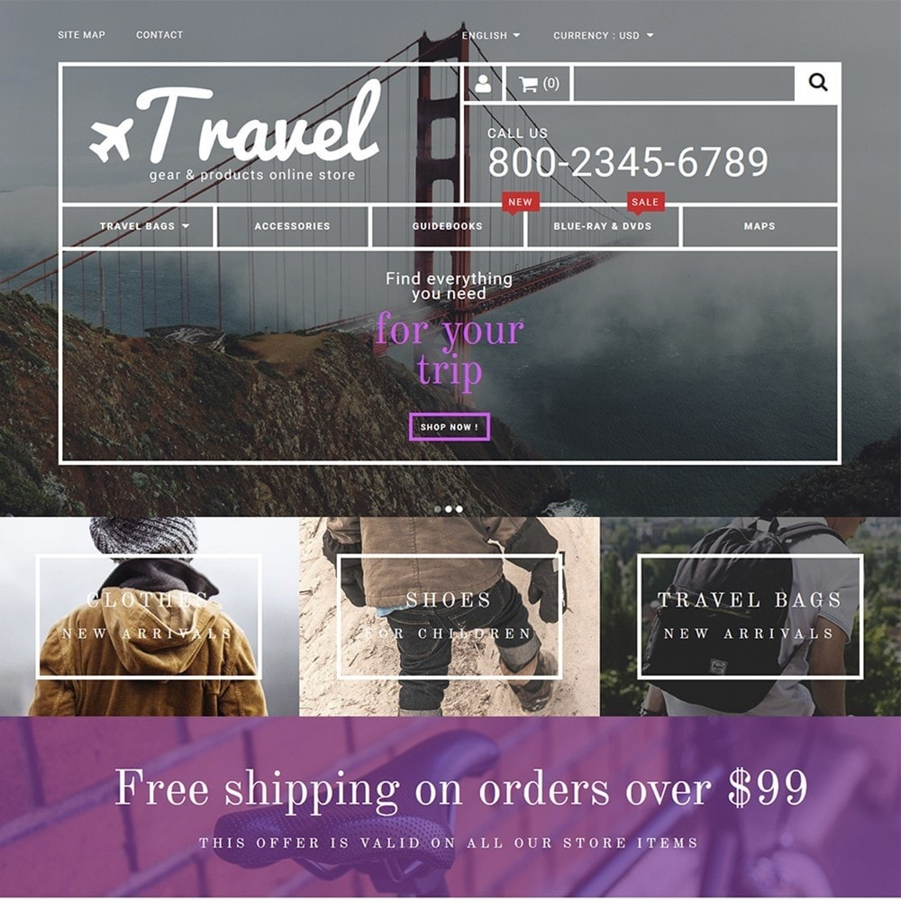 theme - Спорт и Путешествия - Travel - Gear & Product Online Store - 2