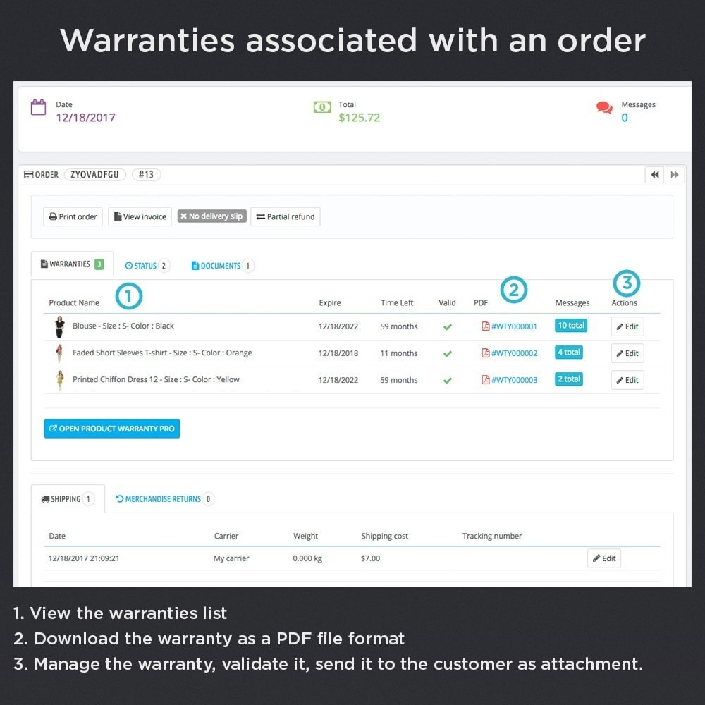 module - Order Management - Product Warranty Pro - 10