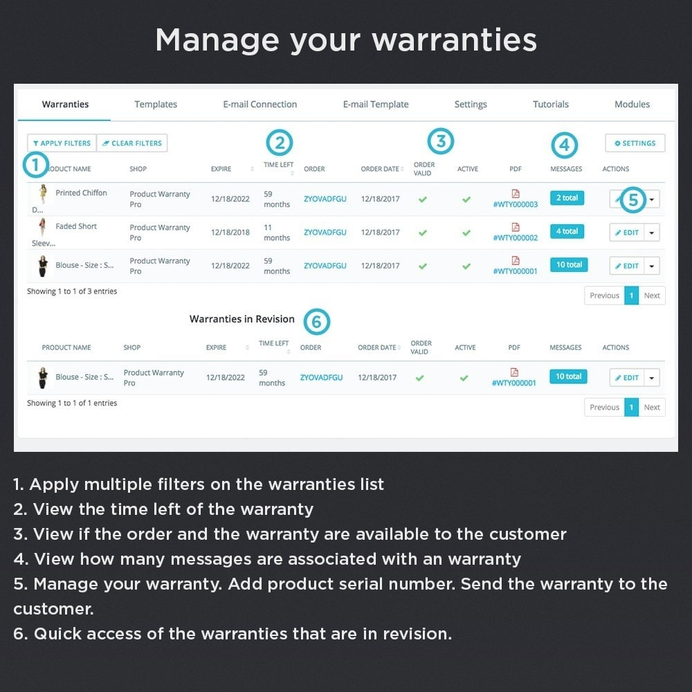module - Order Management - Product Warranty Pro - 11