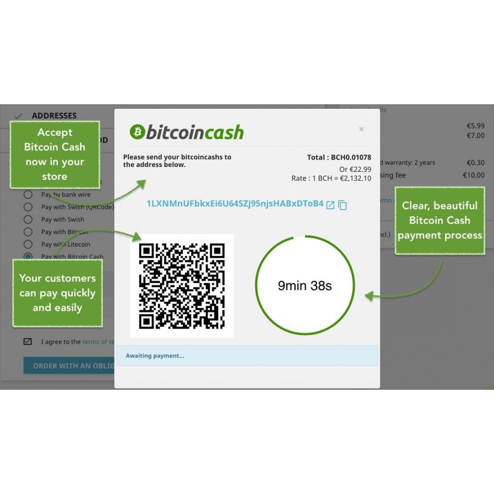 module - Other Payment Methods - Bitcoin Cash - Accept bitcoin directly into your wallet - 1