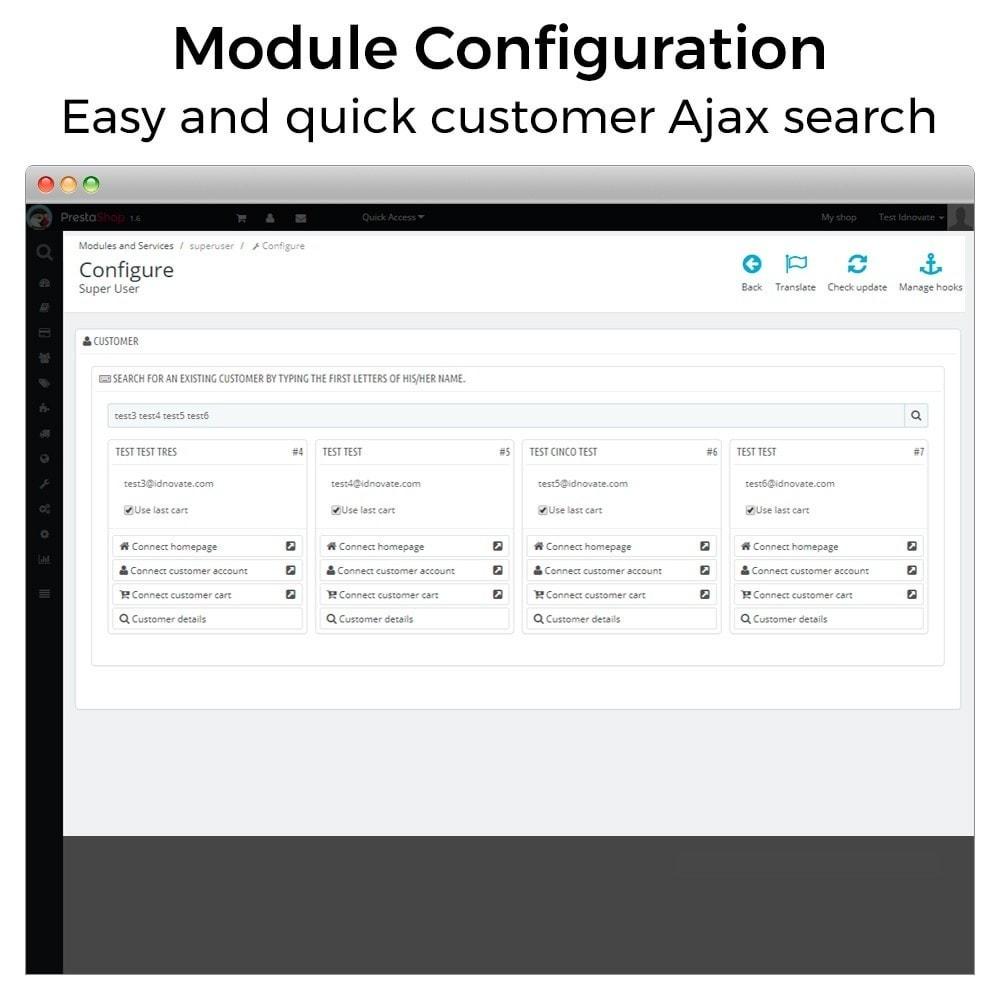 module - Klantenservice - Super User - Log in as customer - 3
