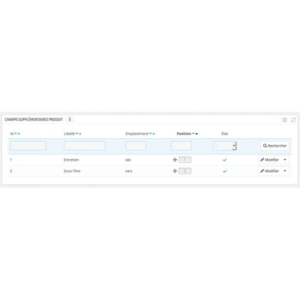 module - Informaciones adicionales y Pestañas - Additional fields & tabs Product Details - 3