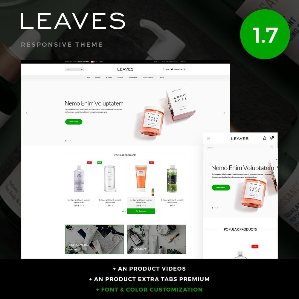 theme - Health & Beauty - Leaves Cosmetics - 1