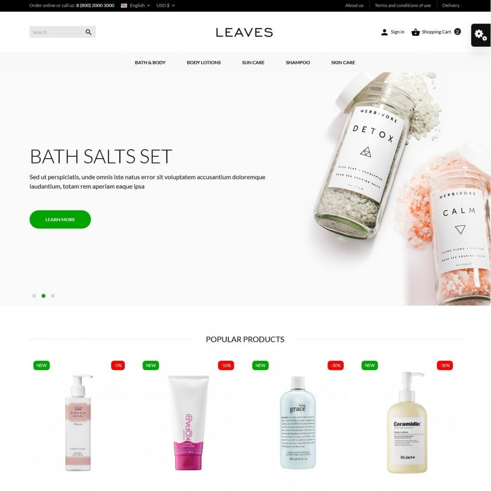 theme - Health & Beauty - Leaves Cosmetics - 2