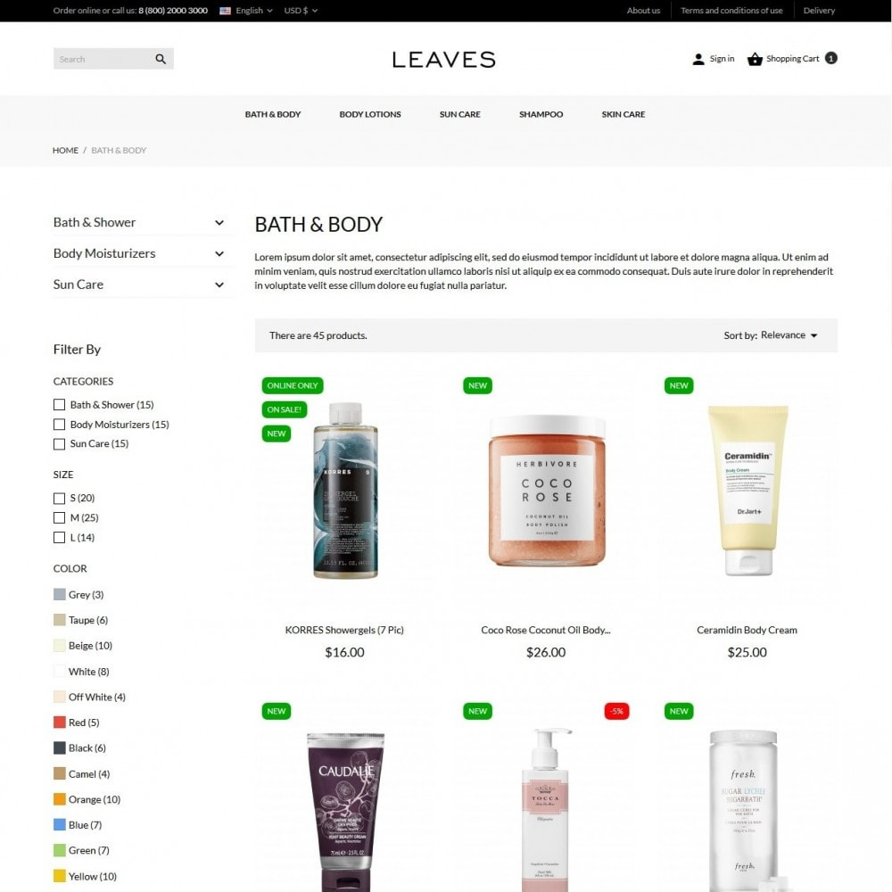 theme - Health & Beauty - Leaves Cosmetics - 5