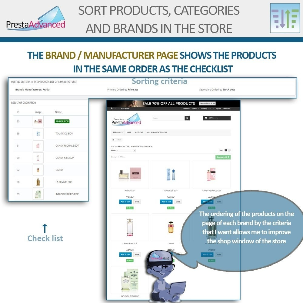 module - Page Customization - Sort products, categories and brands in the store - 11