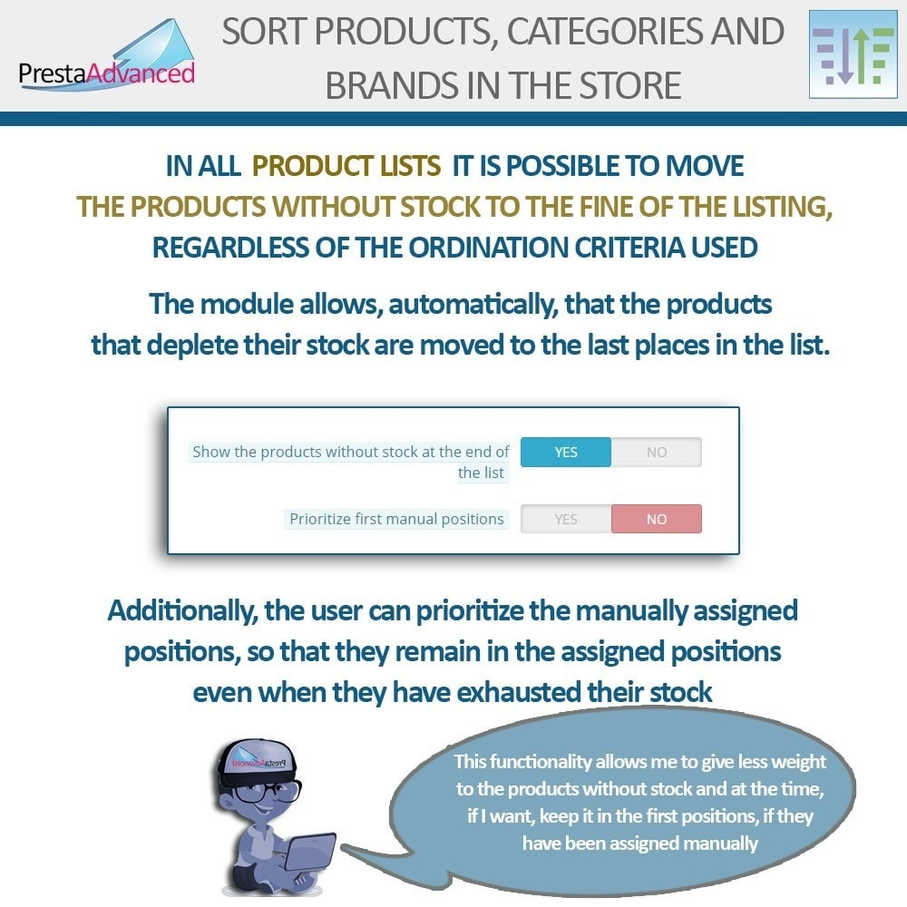 module - Page Customization - Sort products, categories and brands in the store - 12
