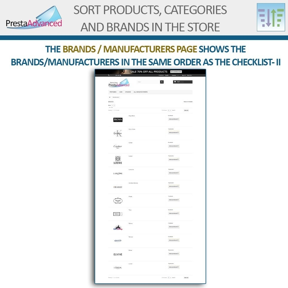 module - Page Customization - Sort products, categories and brands in the store - 18