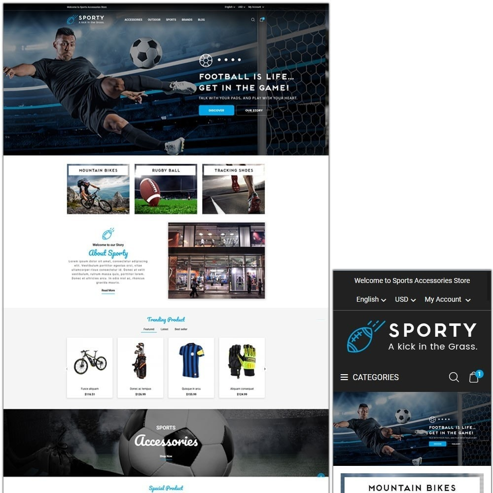 theme - Desporto, Actividades & Viagens - Sporty Accessories Store - 1