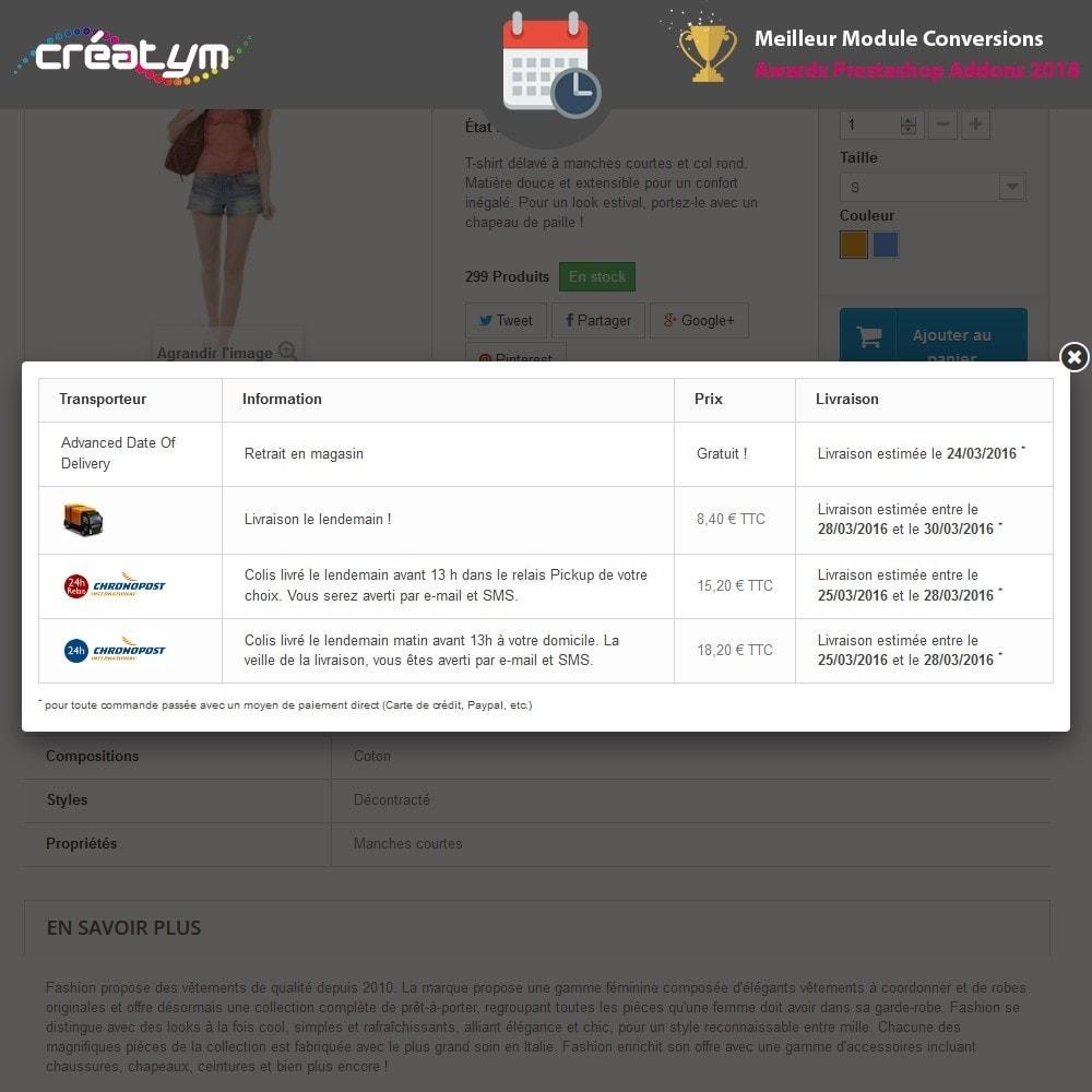 module - Date de livraison - Date de livraison avancée - 2