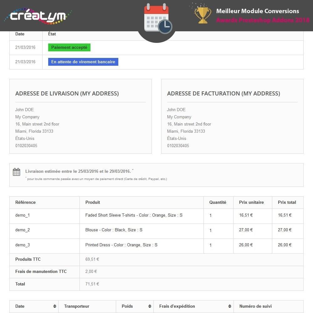 module - Date de livraison - Date de livraison avancée - 5