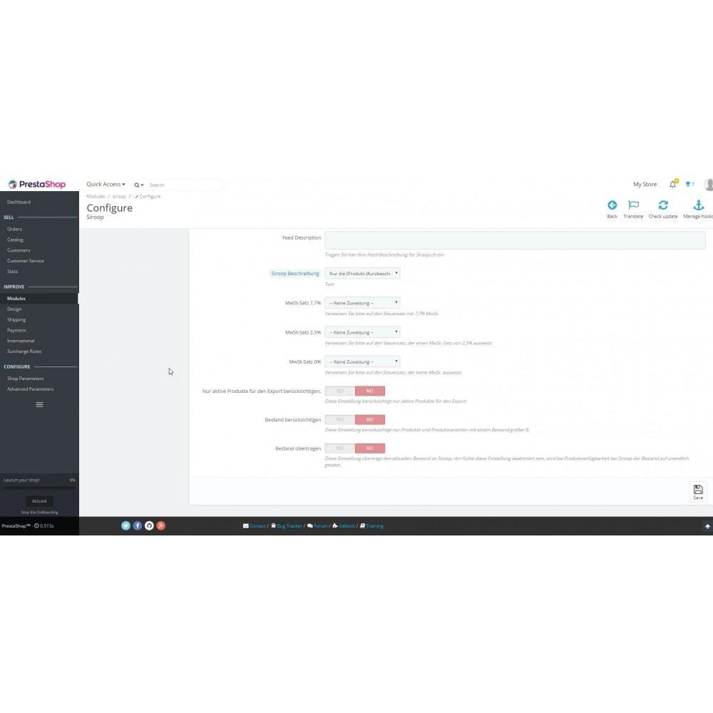 module - Importación y Exportación de datos - Siroop.ch Export - 2