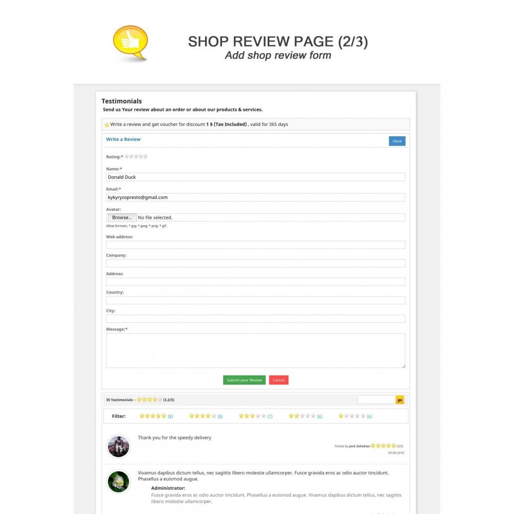 module - Customer Reviews - Shop Reviews + Avatars + Reminder + Rich Snippets - 2