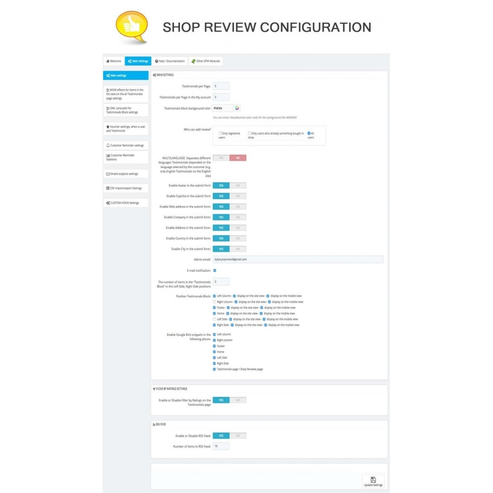 module - Kundenbewertungen - Shop Reviews + Avatars + Reminder + Rich Snippets - 6