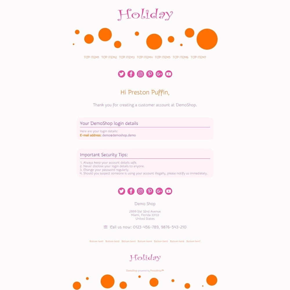 email - Templates d'e-mails PrestaShop - Holiday - Email templates - 2