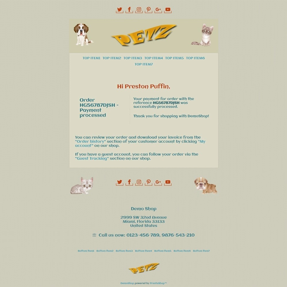 email - PrestaShop email templates - Petz - Email templates - 3