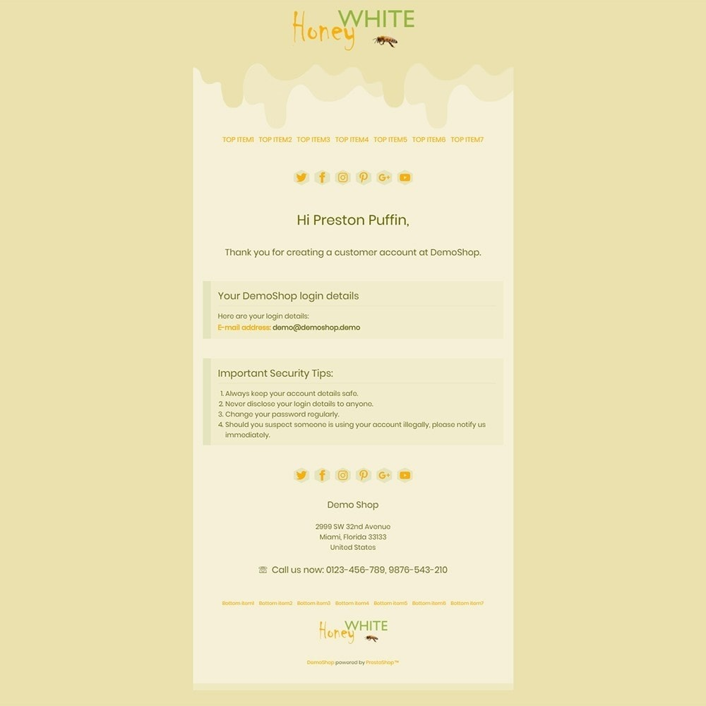 email - PrestaShop email templates - White Honey - Email templates - 2