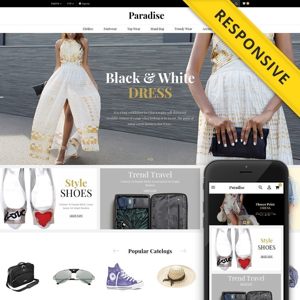 theme - Мода и обувь - Paradise - Multi Fashion Store - 1