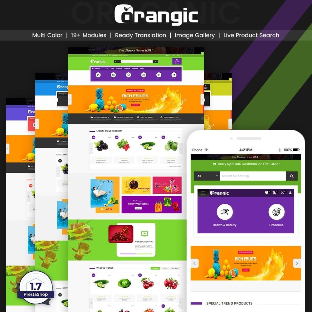 theme - Eten & Restaurant - Orangic – Fresh Green Foods Super Store - 1