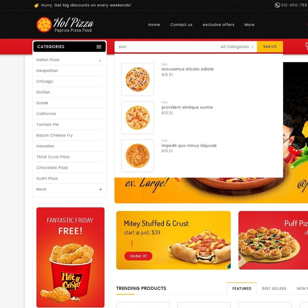 theme - Продовольствие и рестораны - Paprika Pizza - Fast Food - 9