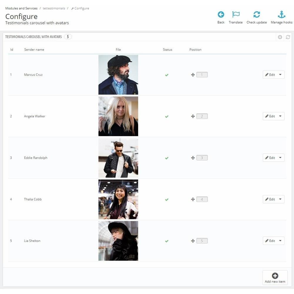 module - Comentarios de clientes - Testimonials carousel with avatars - 5