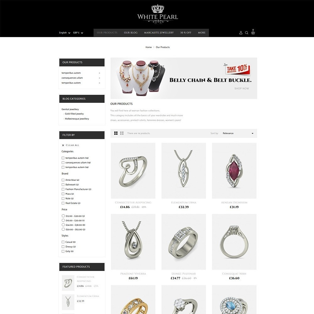 theme - Bellezza & Gioielli - White pearl Jewellery Shop - 4
