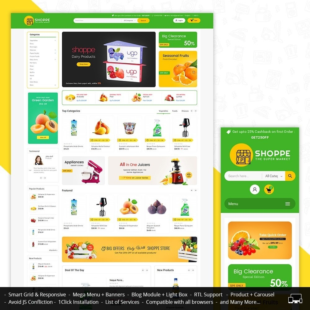 theme - Alimentation & Restauration - Mega Shoppe Grocery - 1