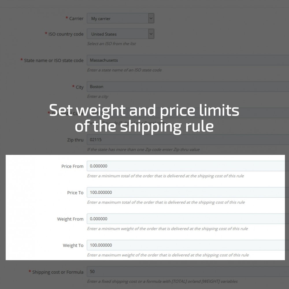module - Стоимость доставки - Shipping cost by Zip, Postal code, Country, State, City - 4