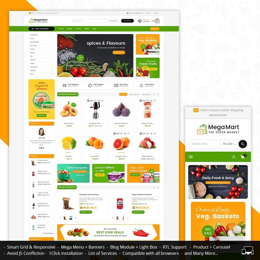 theme - Food & Restaurant - Mega Mart Grocery - 1
