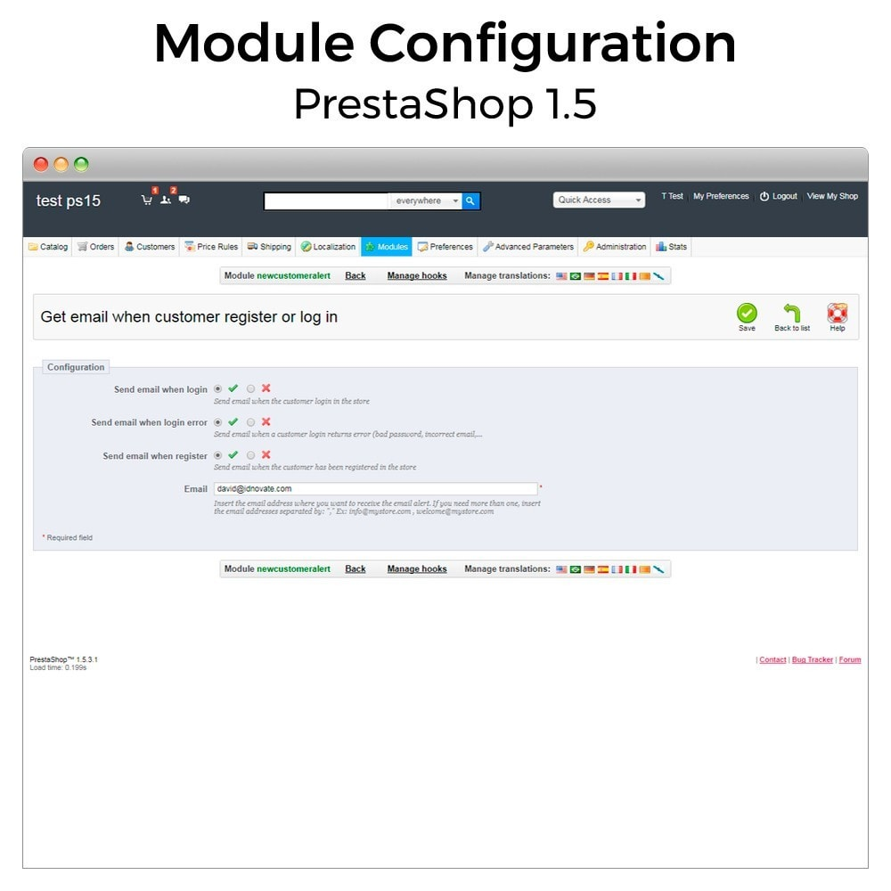 module - Email & Notifiche - Get email when customer register or login - 4