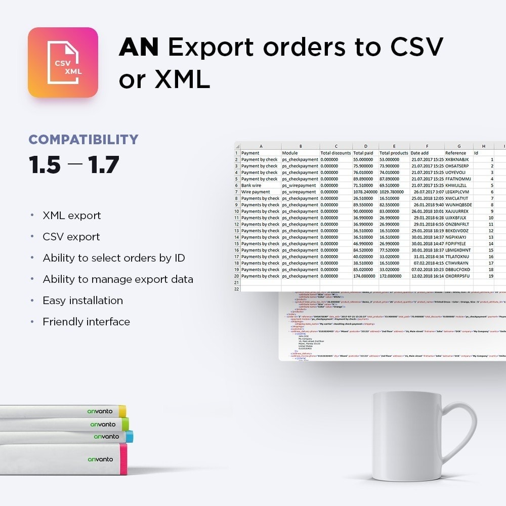 module - Import & Eksport danych (csv, pdf...) - Export orders to CSV or XML - 1