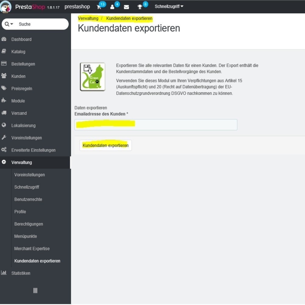 module - Daten Im-&Export - Gc Kundendaten Export - 1