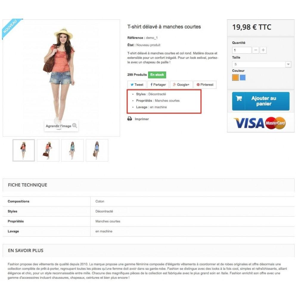 module - Informaciones adicionales y Pestañas - Product feature highlighting - 4