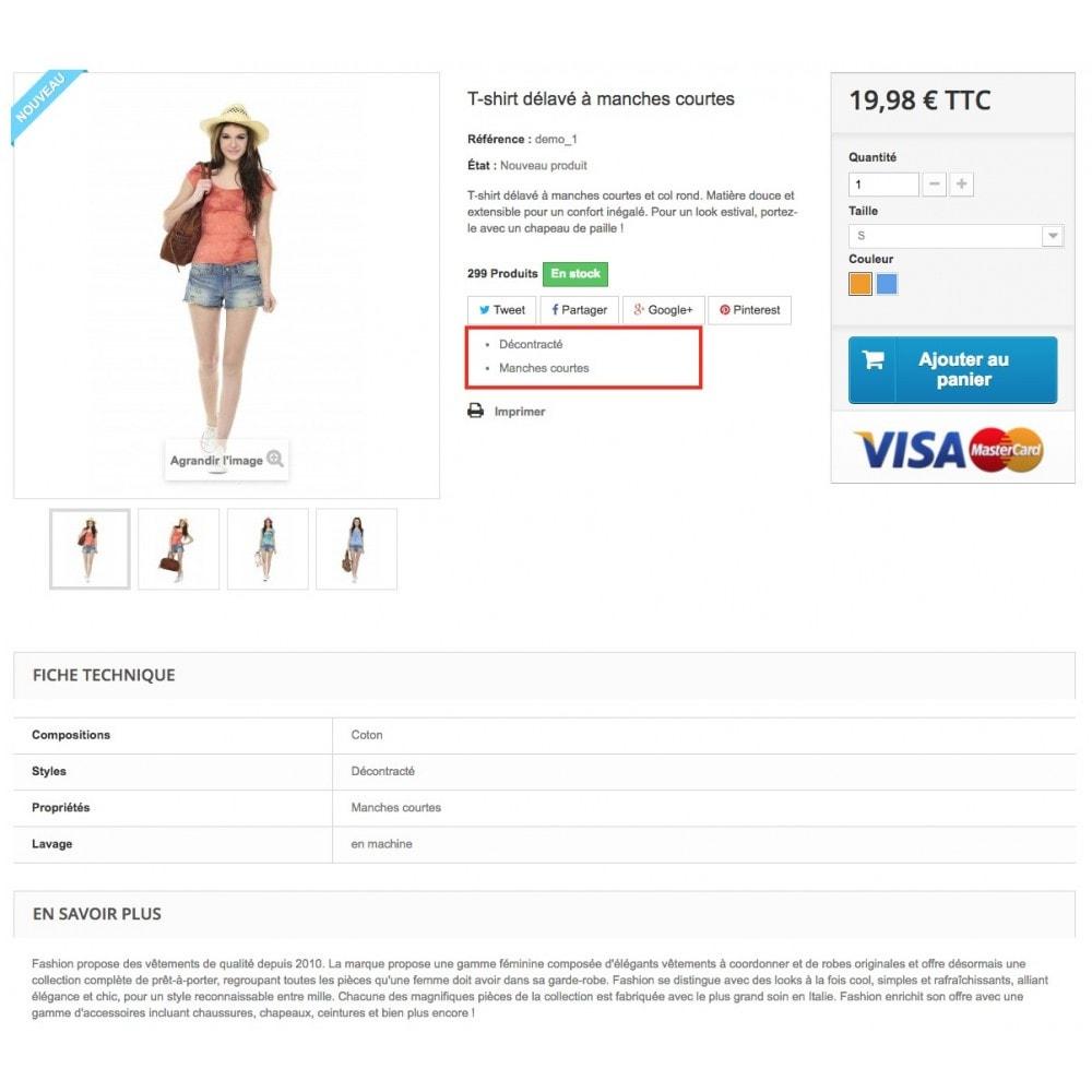 module - Informaciones adicionales y Pestañas - Product feature highlighting - 6