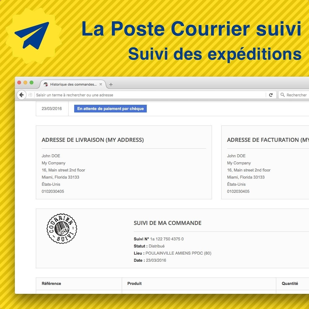 module - Delivery Tracking - La Poste • Suivi de mes expéditions - 1