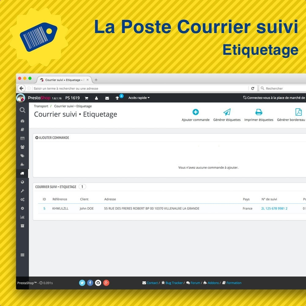 la poste courrier suivi pack tiquetage suivi prestashop addons. Black Bedroom Furniture Sets. Home Design Ideas