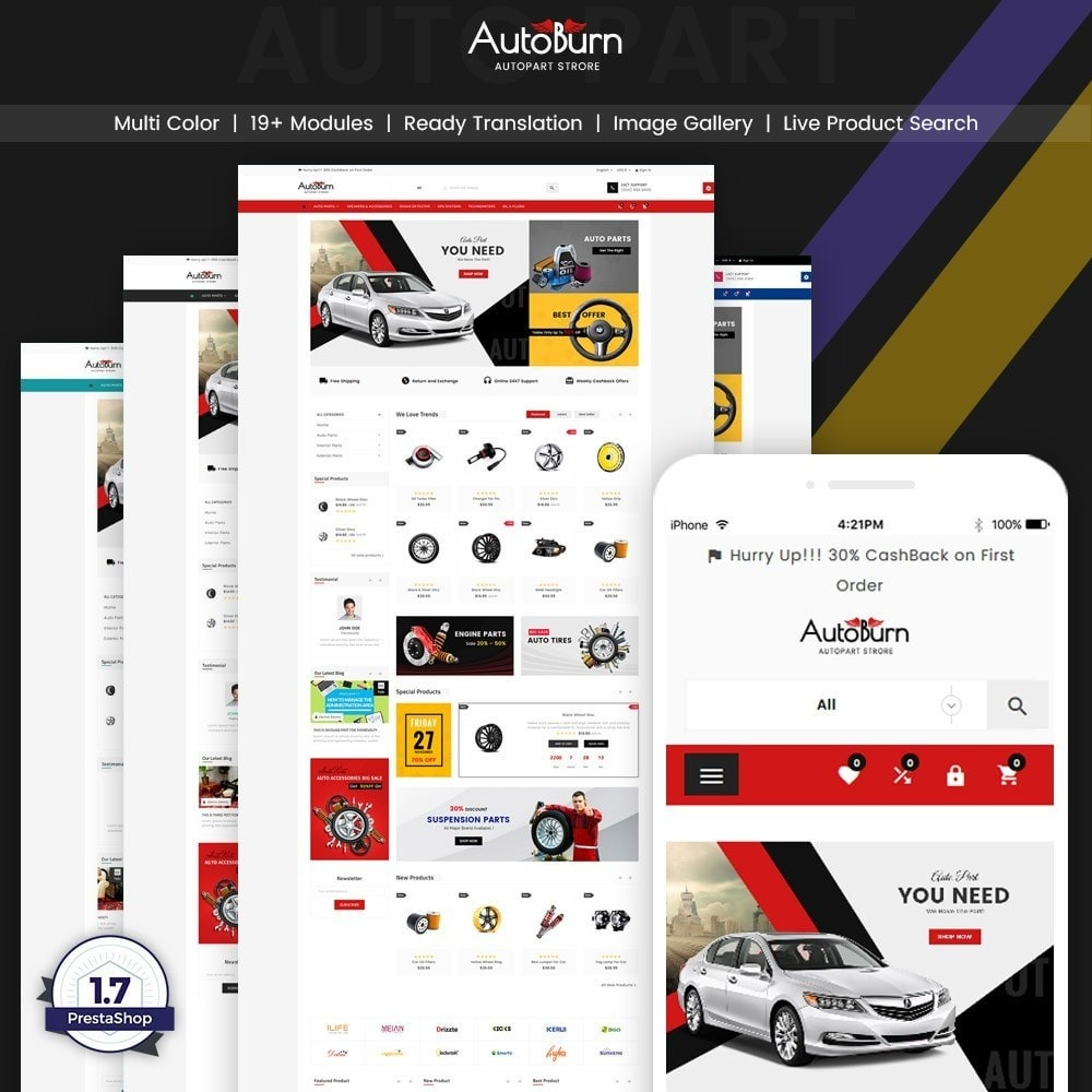 theme - Automotive & Cars - AutoBurn – AutoPart and Tool Super Store v3 - 1