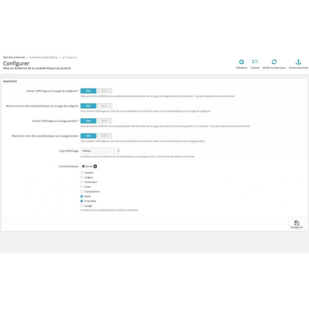 module - Informaciones adicionales y Pestañas - Product feature highlighting - 7