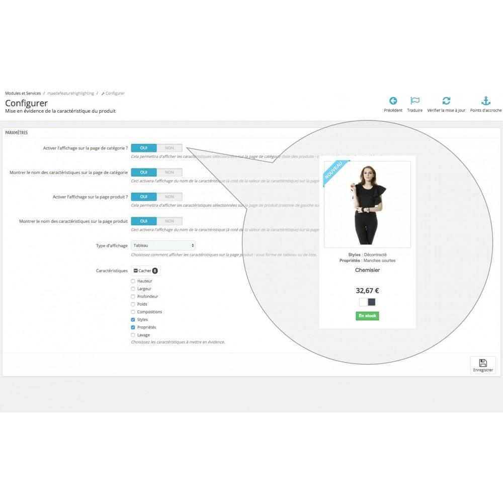 module - Informaciones adicionales y Pestañas - Product feature highlighting - 8