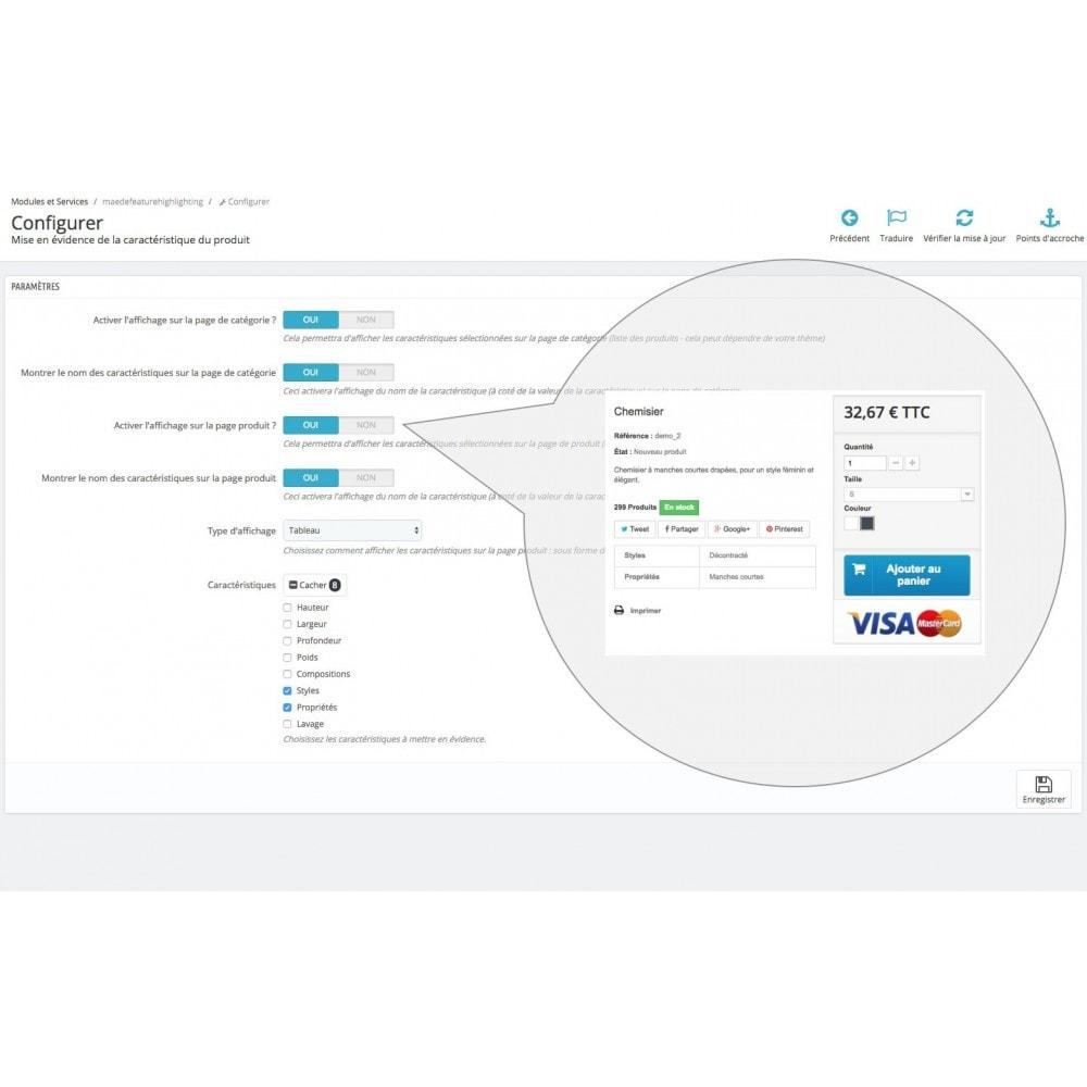 module - Informaciones adicionales y Pestañas - Product feature highlighting - 10